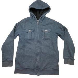 Helix Boy's Size Medium Long Sleeve Zip-Up Sherpa Lined Sweatshirt Hoodie Jacket